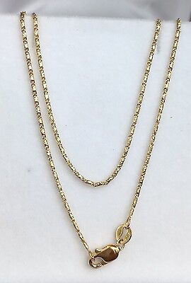"18k Solid Yellow Gold Italian Small Link Chain Necklace, 16"". 2.80Grams"