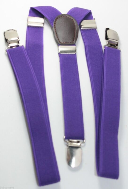 Purple Mens Womens Clip-on Suspenders Elastic Y-shape Adjustable Braces New