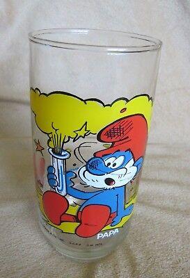 Papa Smurf Vtg Peyo © 1982 Hardees Water soda pop Promo Glass tumbler Drink