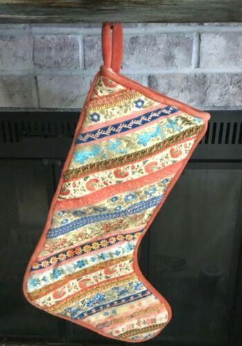 Vintage Handmade Coral/Peach Christmas Stocking Victorian/Shabby Chic/Coastal