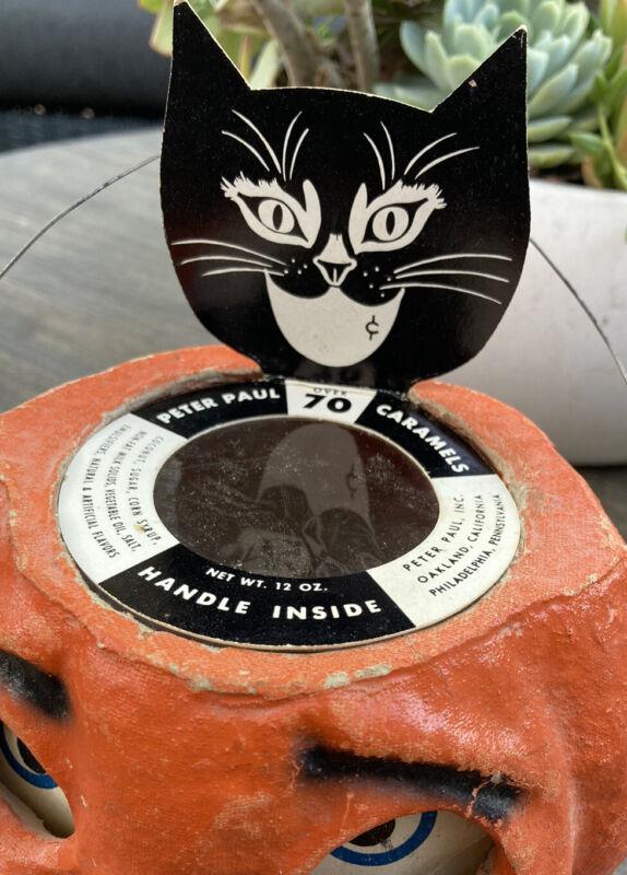 vintage halloween pumpkin Black Cat candy container top