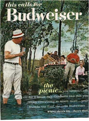 1963 BUDWEISER Beer at a picnic Man wading in water Vintage Print Ad