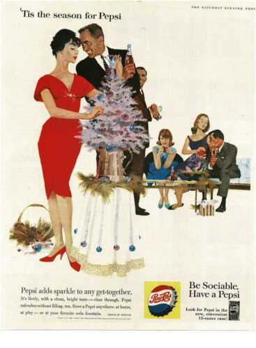 1960 PEPSI COLA Christmas party pink tree Illustration art Vintage Print Ad