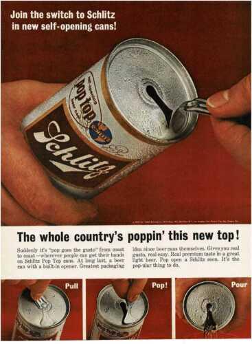 1963 SCHLITZ Beer pop top can Vintage Print Ad