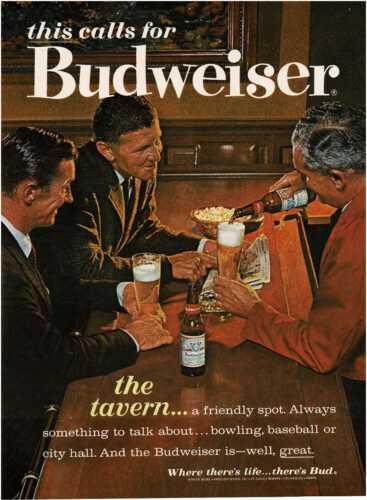 1963 BUDWEISER Beer men in tavern having a cold one Vintage Print Ad
