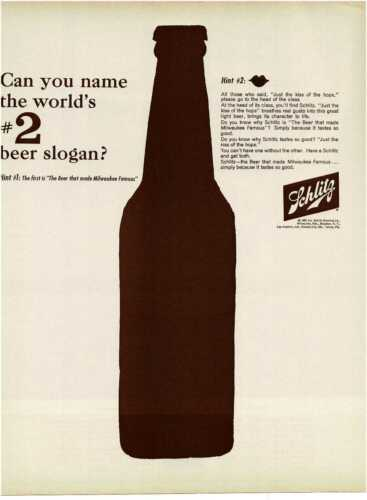 1963 SCHLITZ Beer big brown bottle graphc Name no. 2 slogan Vintage Print Ad