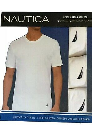 Mens nautica 3 Pack Cotton Crew Neck T Shirts New Medium
