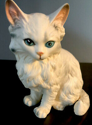 Japan Vintage hand painted fluffy white cat figurine