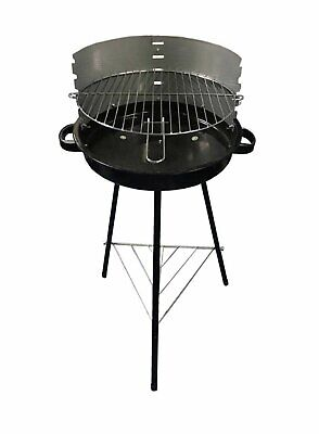 45cm Round Charcoal Steel BBQ 42x42 cm Cooking Area with Warming Rack - Silver.