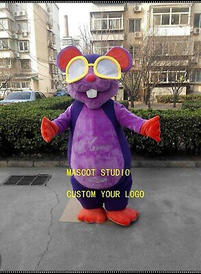 Halloween Adult Purple Rat Mascot Costume Suit Cosplay Party Game Dress Outfit - Halloween Rat Games