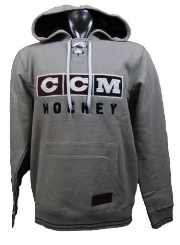 CCM Hockey CLASSIC LACE NECK Adult/Senior Hoody Sweatshirt-LIGHT GREY