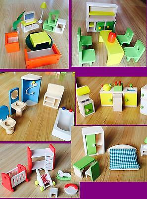 RARE NIB J&J  6 room 1/12 J&J WOODEN  DOLLS HOUSE FURNITURE  full SET dollhouse