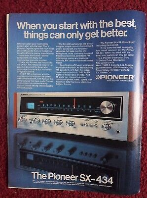 1976 Print Ad Pioneer Electronics SX-434 Stereo Receiver ~ Start with the