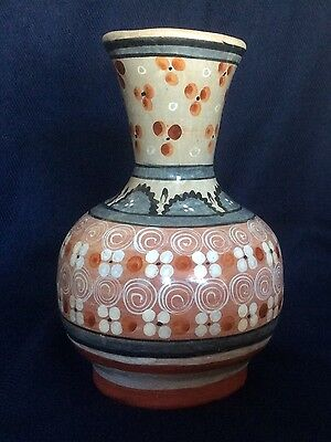 Old Vintage Tonala Mexican Folk Art Hand Painted Ceramic Clay Pottery Vase
