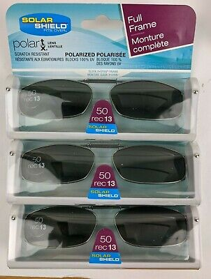 3 Pack Solar Shield Polarized Clip Ons Sunglasses 50 rec 13 Grey (Polarized Clip-on Sunglasses Gray)