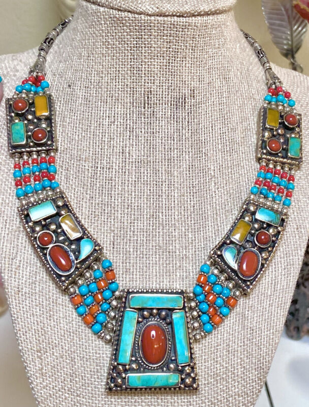 Wonderful Antique East Indian Coral, Turquoise, Amber Tribal Style Necklace
