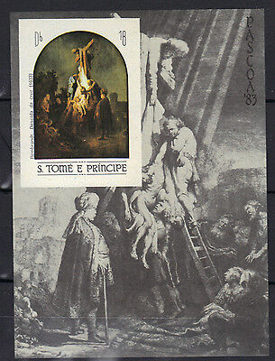 S.Tome & Principe 1983 EASTER Descent from the Cross by Rembrandt MNH SC # 695b