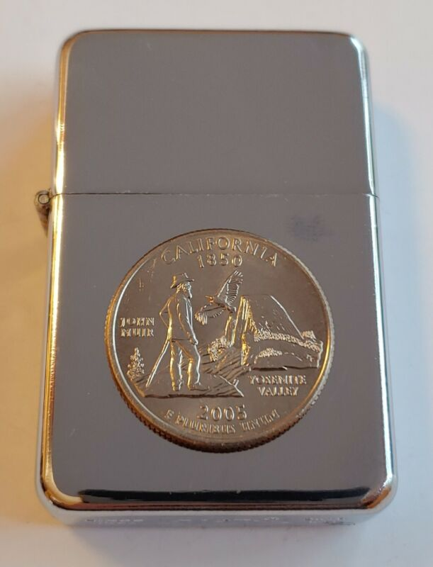 STAR-1 HIGH POLISH CHROME Lighter w/ 2005 CALIFORNIA STATE QUARTER Series Coin