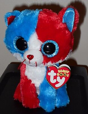 "Ty Beanie Boos Boo's ~ FIRECRACKER the 6"" Patriotic Cat MWMT ~Claire's Exclusive"