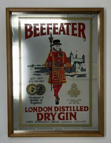 "Vintage Retro Beefeater Gin Framed Bar Mirror 16"" X 12"""