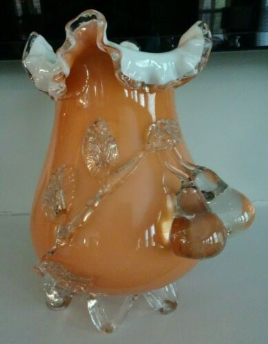 Large Antique Stevens & Williams Art Glass Cased Vase APPLIED PEACHES Loop Feet