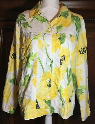 Draper's & Damon's Ladies XL Spring Summer Yellow Floral Eyelit Flower Blazer