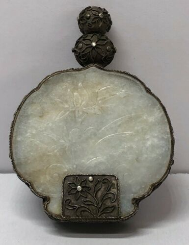 ANTIQUE CHINESE SILVER- MOUNTED JADEITE SNUFF BOTTLE