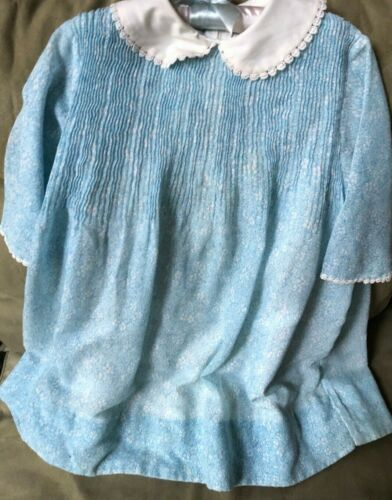 Handmade Vintage Blue /White Print Toddlers Lined Dress