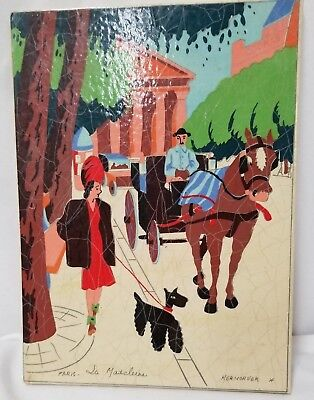 1940's Kermorver Art Painted Gouache/Paper Dog 8.5