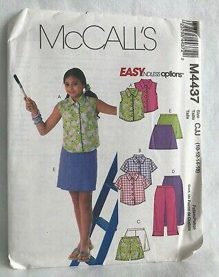 - MCCALLS M4437 NEW/UNCUT/FF PATTERN-EASY ENDLESS OPTIONS - GIRL TOP SHORTS SKORT