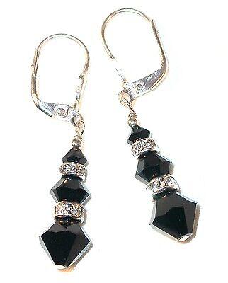 Sterling Silver Black Jet (JET BLACK Earrings Dangle Sterling Silver Swarovski Crystal)