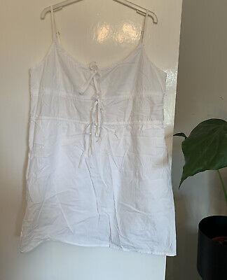 Asos Honey Punch Size XL 12 14 16 Cotton White Midi Dress Summer