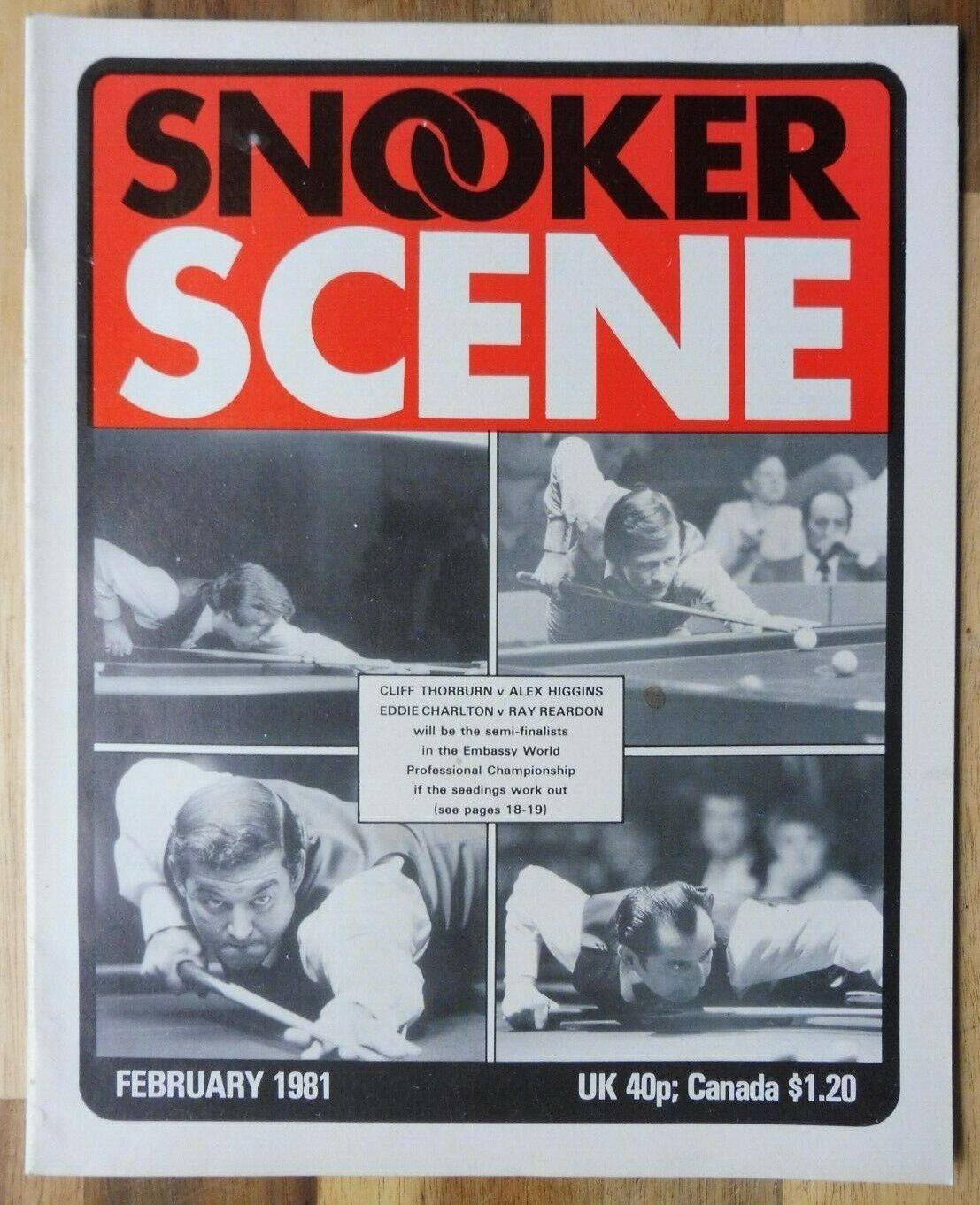 Snooker Scene Magazine, February 1981, Good Condition.