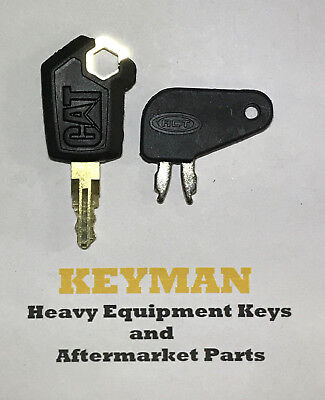 2 Cat Caterpillar Equipment Key Set Ignition And Master Disconnect With Logo