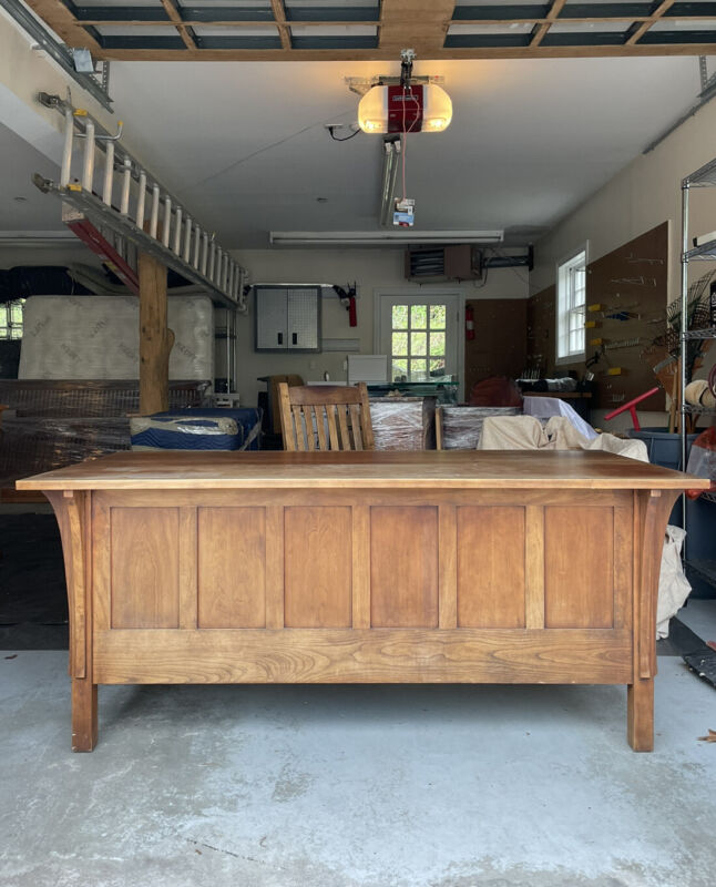 Signed Stickley Executive Desk And Chair In Cherry Wood From 1990s