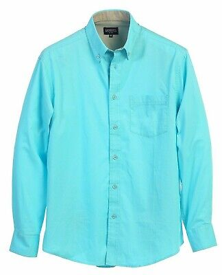 Men Long Sleeve Solid Casual Contrast Button Down Twill Shirt Size S M L XL 2XL