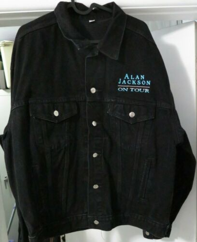Alan Jackson On Tour Black Denim Jean Jacket Embroidered Country Music Men Sz XL