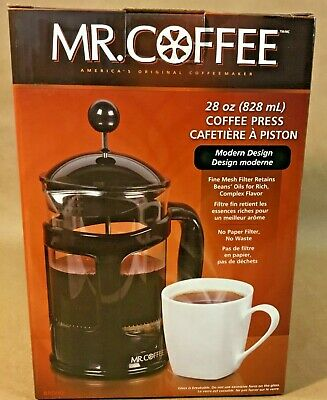 Mr. Coffee 28 ounce Coffee Press No Paper Filter No Waste Fine Mesh Filter  Dishwasher Safe Mesh Filters