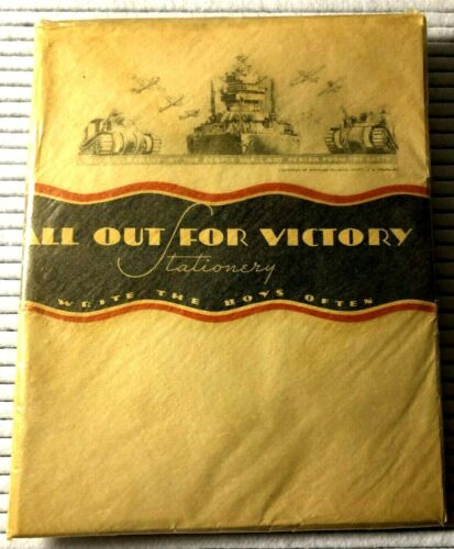 Vintage WWII STATIONARY N.O.S. ALL OUT FOR VICTORY Stationary; Original packing