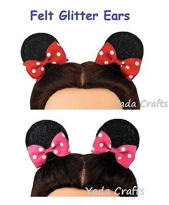 Felt Glitter Mouse Ears/Mini Ears Hair Clips Costume Birthday  - Mini Mouse Ears
