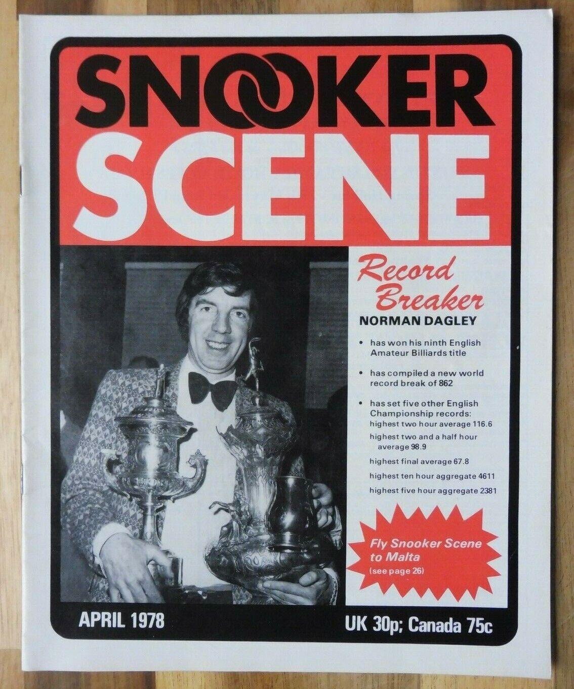 Snooker Scene Magazine, April 1978, Good Condition.