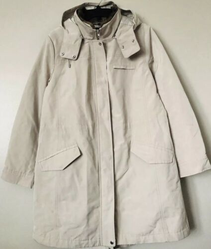 Talbots Women Rain Coat Jacket With Detachable Hood & Faux F