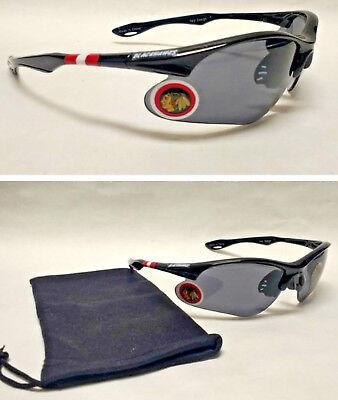 READ ALL! Chicago Blackhawks BULLSEYE XL 3-D Logo on Blade Sunglasses! 2PC SET! - Bullseye Sunglasses