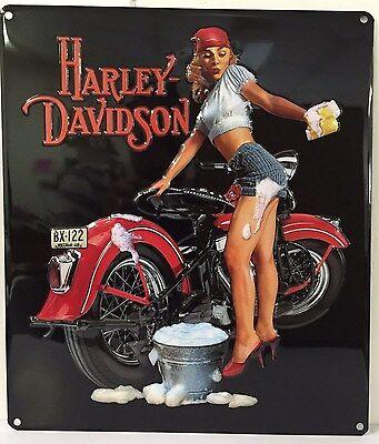 Ande Rooney HARLEY DAVIDSON WASH BABE Pin Up Girl Tin HD Garage Motorcycle Sign