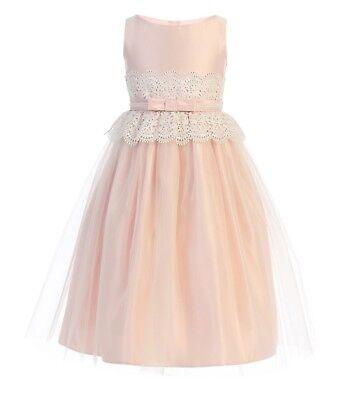 New Flower Girls Pink Satin Tulle Dress Wedding Easter Elegant Formal Party (Elegant Tulle Satin)