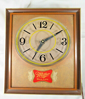 MILLER HIGH LIFE Beer Sign Vtg Electric Lighted Hanging Wall Clock - PLEASE READ