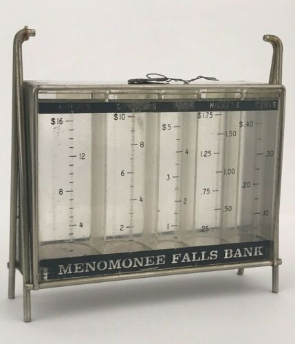 Vintage Gerett Promotional Coin Currency Table Bank Menomonee Falls with Key