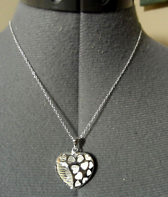 """New 925 SILVER Hollow CUT OUT HEARTS Necklace Set Filigree Pendant & 18"""" Chain"""