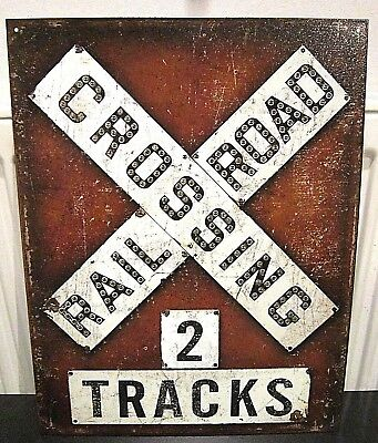 RAILWAY CROSSING/ 2 TRACKS ,ANTIQUE-FINISH METAL WALL SIGN 40x30 cm TRAINS