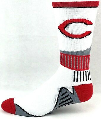 Cincinnati Reds Adult Crew Socks White Red with Gray Curve Bottom of -